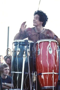 Jerry Valez, percussionist; Jimi Hendrix Band of Gypsies performing at Woodstock 1969