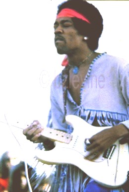 Jimi Hendrix jammin' at Woodstock Festival 1969, and as seen On http:/www.artiekornfeld-woodstock.com/book.htm, site of Woodstock organizer