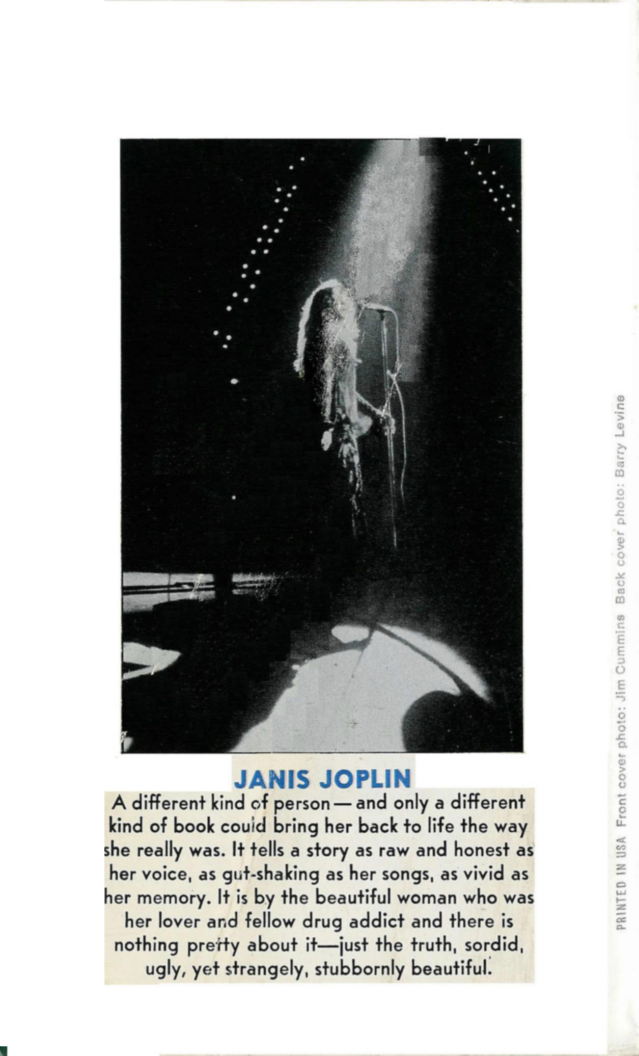 1973 Going Down With Janis Book; back cover photo by Barry Z Levine.  Please excuse the used conditon of this 1973 paperback.